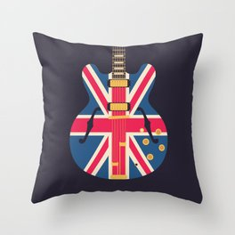Union Jack Flag Britpop Guitar - Black Throw Pillow