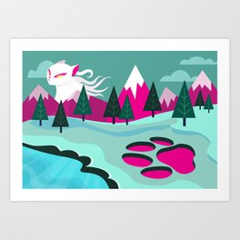 Monster Cat in the Mountains Art Print