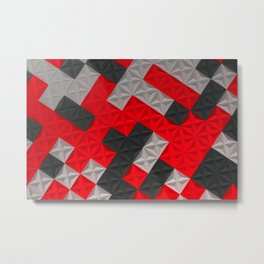 Pattern of black, white and red pyramid tiles Metal Print