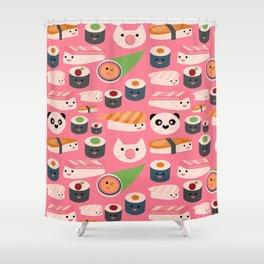 Kawaii sushi hot pink Shower Curtain