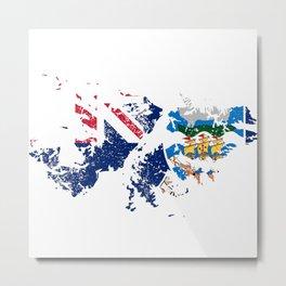 Distressed Falkland Islands Malvinas Map Metal Print