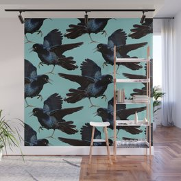 Grackle Birds Everywhere Turquoise Blue Wall Mural