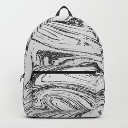 Modern abstract black and white glitter marble Backpack