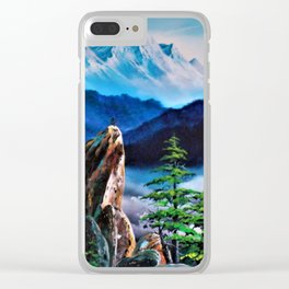 Snowy mountain and cliff top rock. Clear iPhone Case