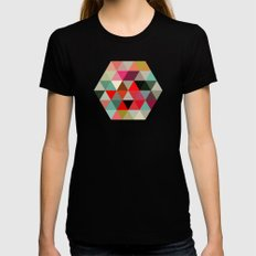 Geo Hex 03. SMALL Black Womens Fitted Tee
