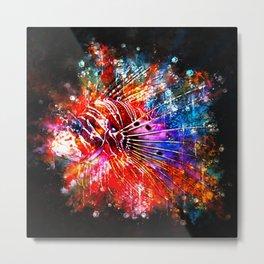 lionfish splatter watercolor Metal Print