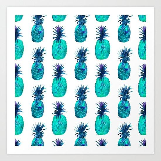 Mint pineapples || watercolor Art Print
