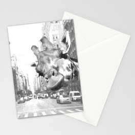 Black and White Selfie Giraffe in NYC Stationery Cards