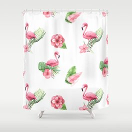 Pink Flamingo Flamingle Shower Curtain