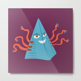 Weird Blue Pyramid Character With Tentacles Metal Print