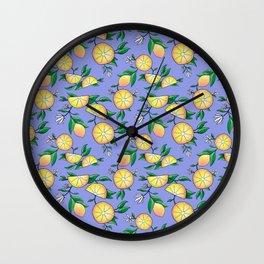Purple lemons Wall Clock