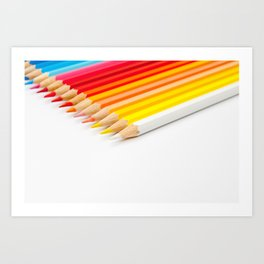 Color pencils on white background Art Print