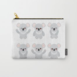 Funny cute koala set on white background Carry-All Pouch