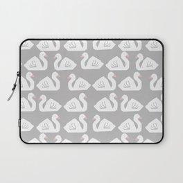 Swan minimal pattern print grey and white bird illustration swans nursery decor Laptop Sleeve