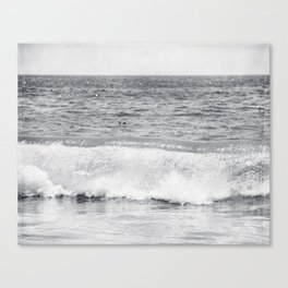 Black and White Ocean Wave Photography, Grey Seascape, Gray Neutral Sea Landscape, Coastal Waves Canvas Print