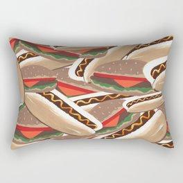 Hot Dogs And Hamburgers Rectangular Pillow