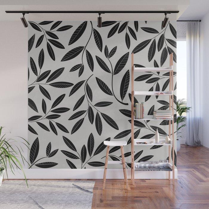 Black & White Plant Leaves Pattern Wall Mural