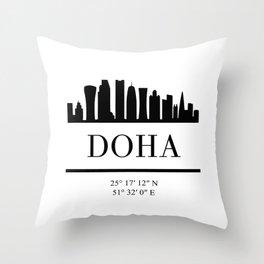 DOHA QATAR BLACK SILHOUETTE SKYLINE ART Throw Pillow