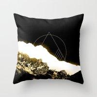 snowboarding Throw Pillows featuring Golden Mountain by Schwebewesen • Romina Lutz