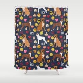 boxer emoji funny dog gifts emojis Shower Curtain