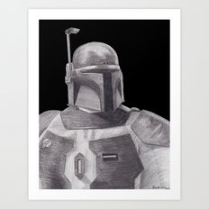 Boba Fett [Grayscale on Black] Pencil Art Print