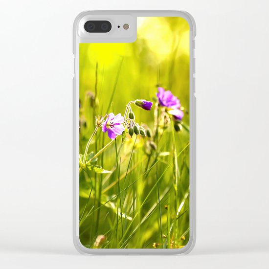 Beautiful meadow flowers - geranium on a sunny day - brilliant bright colors Clear iPhone Case