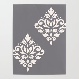 Scroll Damask Art I Cream on Grey Poster