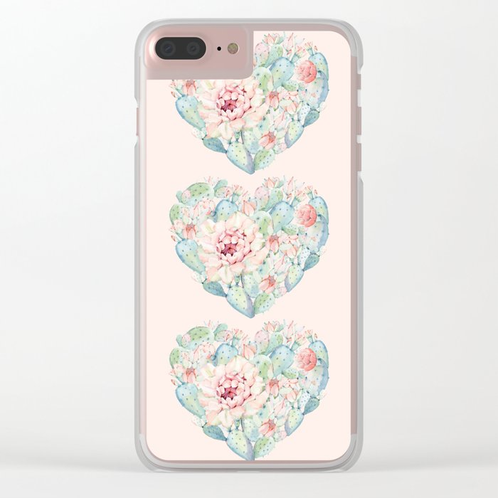Three Hearts Cactus Rose Clear iPhone Case