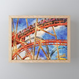 Fun on the roller coaster, close up Framed Mini Art Print
