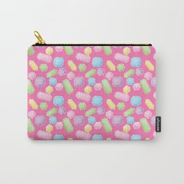 Colorful Doodle Gems Pattern on a Bright Pink Background Carry-All Pouch