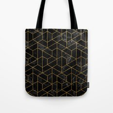 Black Marble Hexagonal Pattern Tote Bag