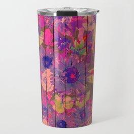Brown wood magenta purple watercolor floral Travel Mug