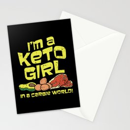 I'm A Keto Girl In A Carbie World! Keto Diet Gift Illustration Stationery Cards