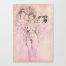 Nude Study with Japanese Iconography Canvas Print