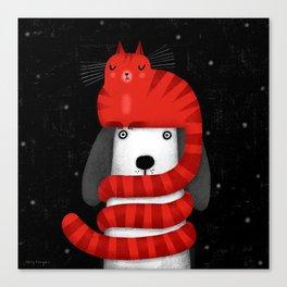 CAT HAT SCARF Canvas Print