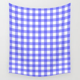 Blue Gingham Material Wall Tapestry