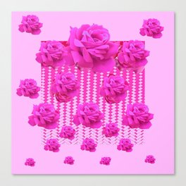 MODERN PINK ART CERISE PINK ROSE GARDEN ABSTRACT Canvas Print