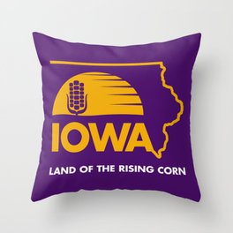Iowa: Land of the Rising Corn - Purple and Gold Edition Throw Pillow
