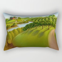 Classical Masterpiece 'The Plains' by Grant Wood Rectangular Pillow