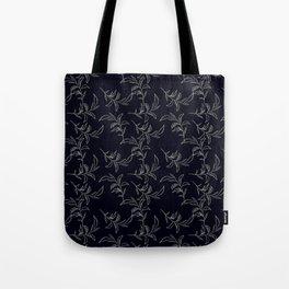 Botanical navy blue white abstract leaves illustration Tote Bag