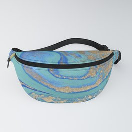 marble stone turquoise and gold Fanny Pack