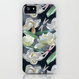 Magnolias and Dragonflies (Dark Clouds) iPhone Case