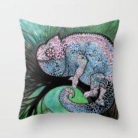 chameleon Throw Pillows featuring Chameleon by oxana zaika