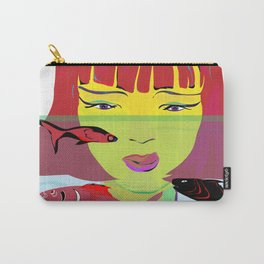 """Redhead Worry"" Paulette Lust's Original, Contemporary, Whimsical, Colorful Art Carry-All Pouch"