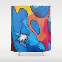 stained glass Shower Curtains featuring Stained Glass by Christine Alexandria