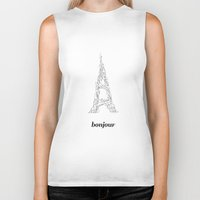 bonjour Biker Tanks featuring Bonjour by Kimberly Jones