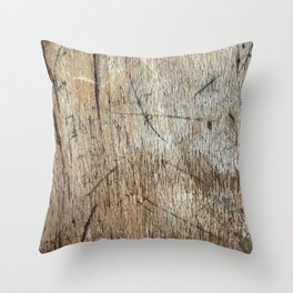 Scratched Wood Throw Pillow