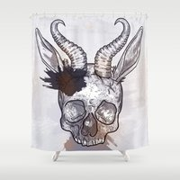heavy metal Shower Curtains featuring Heavy Metal Horned Skull by Sam Posnick
