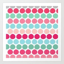 Candy Gumdrop Pink Teal Red Cute Polka Dots Art Print