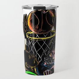 Basketball Player Dunking Blocking Ball Tattoo Travel Mug